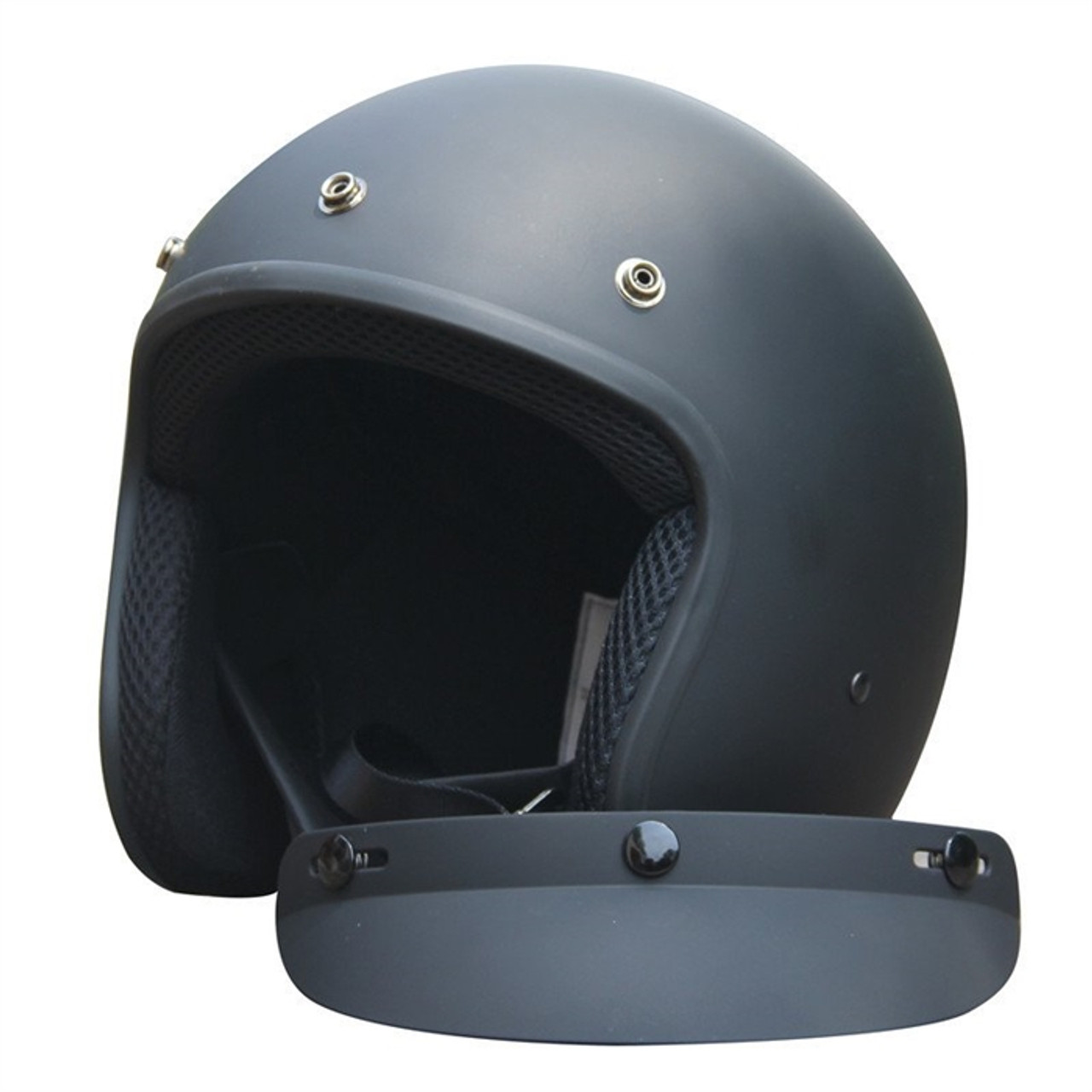 AMZ VINTAGE OPEN FACE MATTE BLACK MOTORCYCLE HELMET