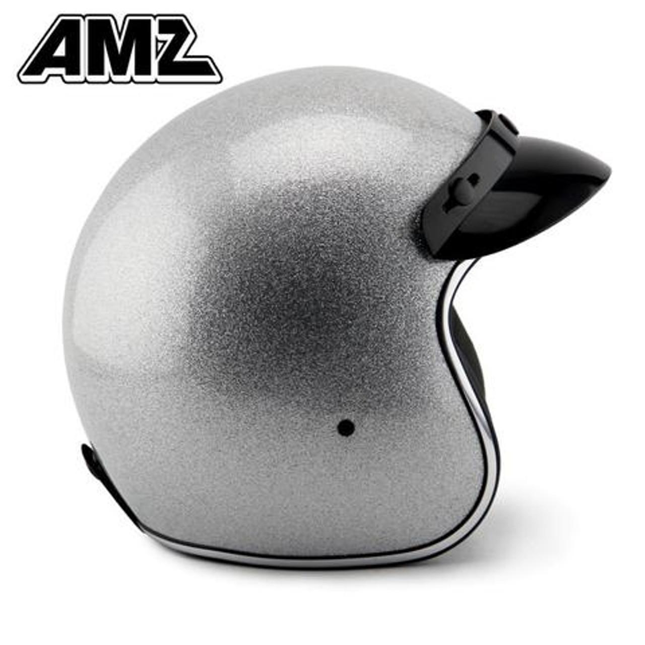 Amz Shinning Silver Vintage Open Face Helmet