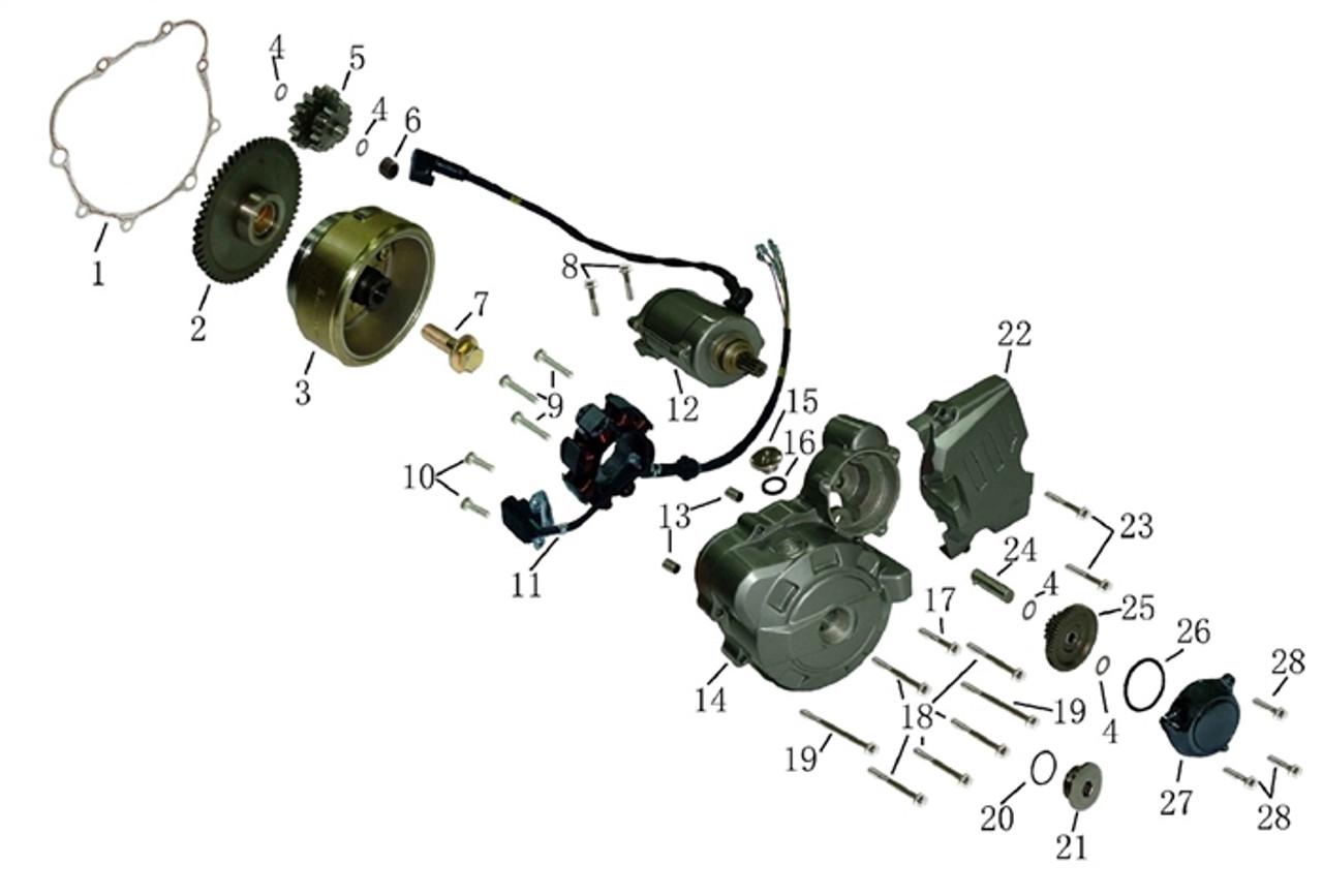 Hawk 250 Base assy stator