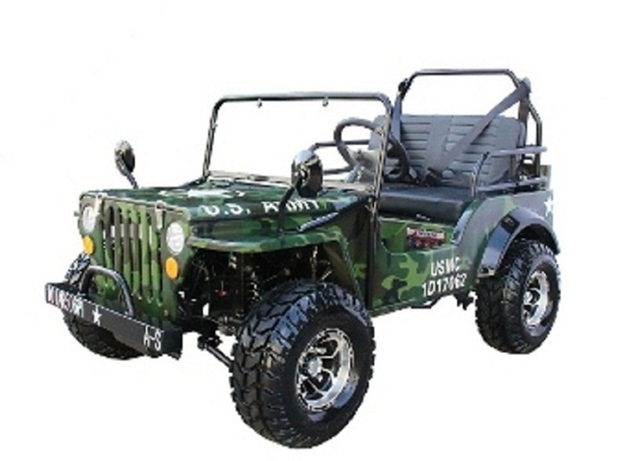 Mini Jeep Gas Golf Cart 125cc Jeep Mini Truck ELITE Edition with 3-Speed Transmission w/Reverse, Custom Rims And Fender Flares