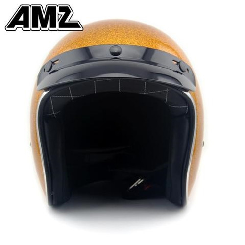 Amz Shinning Golden Vintage Open Face Helmet