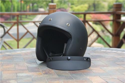 Amz Vintage Open Face Matte Black Motorcycle Helmet