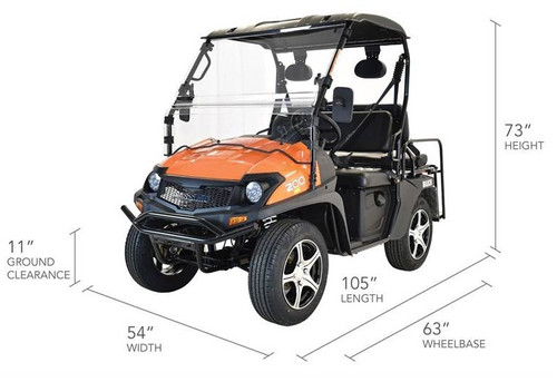 ORANGE - MASSIMO BUCK 200X UTV, 177cc Four-Stroke, Single Cylinder - Fully Assembled and Tested