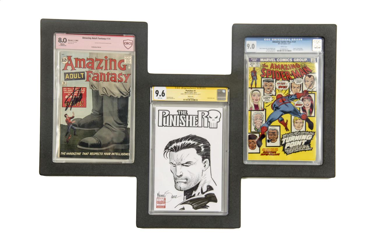 Triple Graded Comic Book Frame Staggered Design