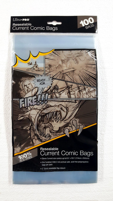 Ultra Pro Resealable Comic Book Sleeves, current size comic books. Pack of 100.   The Collectors Resource