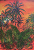 Series of paintings depicts the flow of lava as it destroys the rainforest paradise of Puna along the beaches of Hawaii,