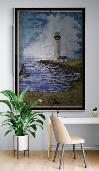 Pigeon Point Lighthouse painting by Michael Silbaugh.