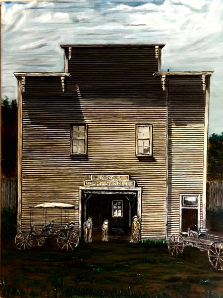 """Jones Blacksmith Shop"" oil painting by Michael Silbaugh of a blacksmith shop circa 1800's Santa Cruz, Ca."