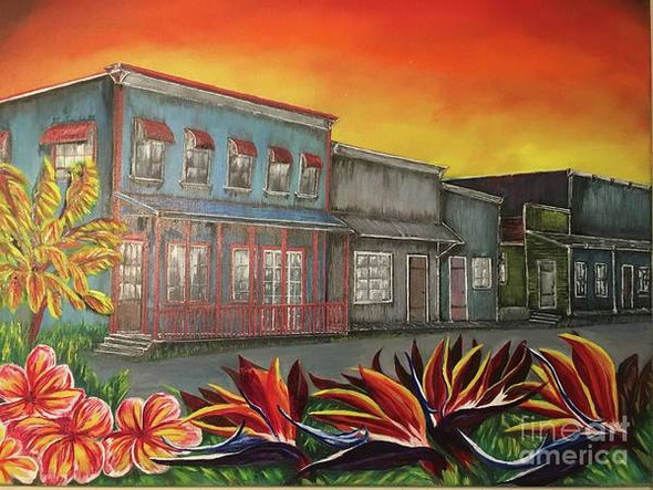 Village of Pahoa oil painting. This Hawaii painting depicting the way the town of Pahoa, Hawaii looked at night while Kilauea volcano was erupting. A oil by artist Michael Silbaugh