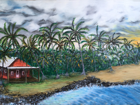 """Isaac Kepookalani Hale Beach Park Pohoiki Hawaii"". Painting ""Isaac Kepookalani Hale Beach Park  Hawaii Pohoiki"" with clouds of vog, remembering the day visiting this enchant beach."