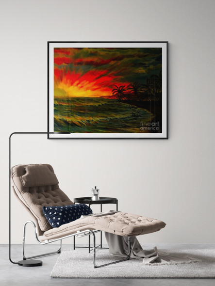 """Black Sand Beach"" is a rendering derived from ""Expectation"", original oil painting by Michael Silbaugh. ""Black Sand Beach""  is giclée enhanced embellish from ""Expectation""."