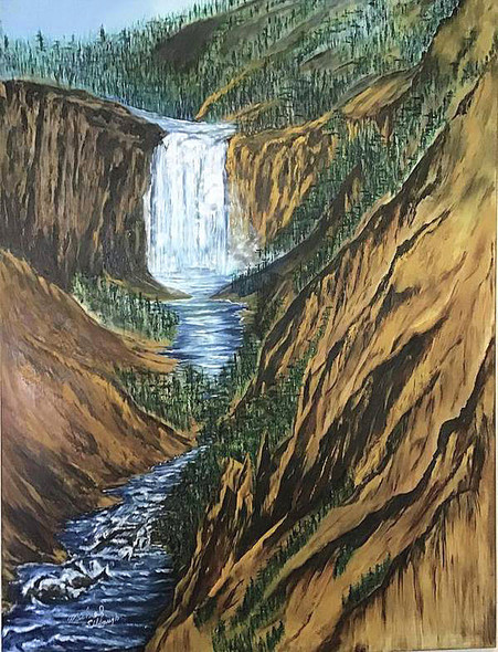 """Yellowstone Falls and Canyon"" tells us a tale of a boy who went fishing in Yellowstone Canyon above the falls."
