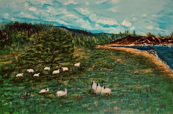 """Mission Ranch Meadow"" a beautiful setting overlooking a green meadow with Mascot sheep grazing, with Carmel California highlands of the Santa Lucia mountains in the background, off in the distance Carmel River Beach and Point Lobos, nearby Monastery Beach."