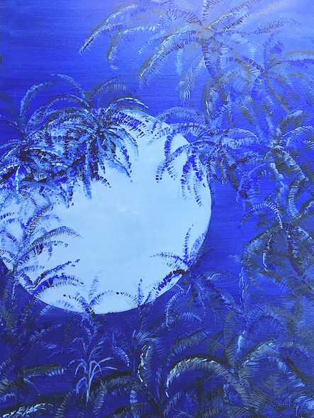 """Hawaii Blue Moon"", is the original painting done in blue hues, whites and grays."