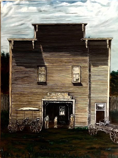 """Jones Blacksmith Shop"" oil painting by Michael Silbaugh of a blacksmith shop circa 1800's Santa Cruz, Ca."