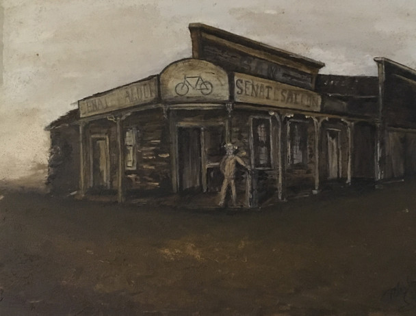 """Michael Silbaugh """"Sam's Senate Saloon painting is a rendering of a vintage historical photo taken of Senate Saloon from the late 1800's in Santa Cruz CA,"""