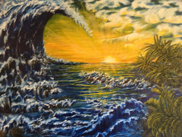 """""""Future"""" color scheme is done with vivid blues for the tsunami wave, bright yellow sunset, with Whites crashing waves."""
