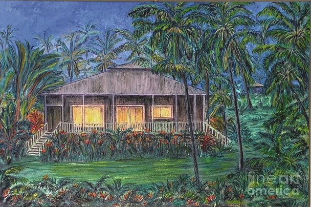 """""""Rainbow Cottage""""* on Kalapana Kapoho Beach Rd. Pahoa, Puna, Hawaii,(See paintings: Pahoa Puna), Oceanfront Cottage in Scenic 'Old Hawaii'. Opihikao Hale with a spectacular oceanfront view, so close to the ocean on the scenic Old Red Road (Rural Route 137) in the idyllic village of Opihikao."""