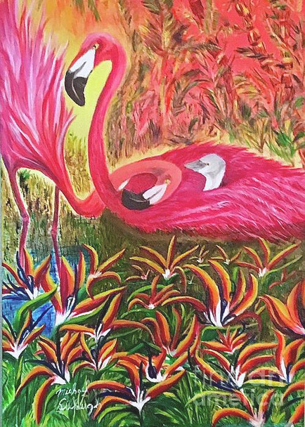 """Flamingo Family"" is earlier rendering of painting from the series ""Flamingos-Just Love"" painting spells LOVE, the word is hidden in the painting."