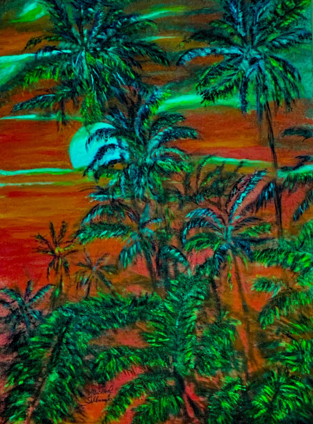 """""""Ahi'ahi Mahina""""(evening Moon) painting depicts the flow of lava as it destroys the tropical rainforest paradise ."""