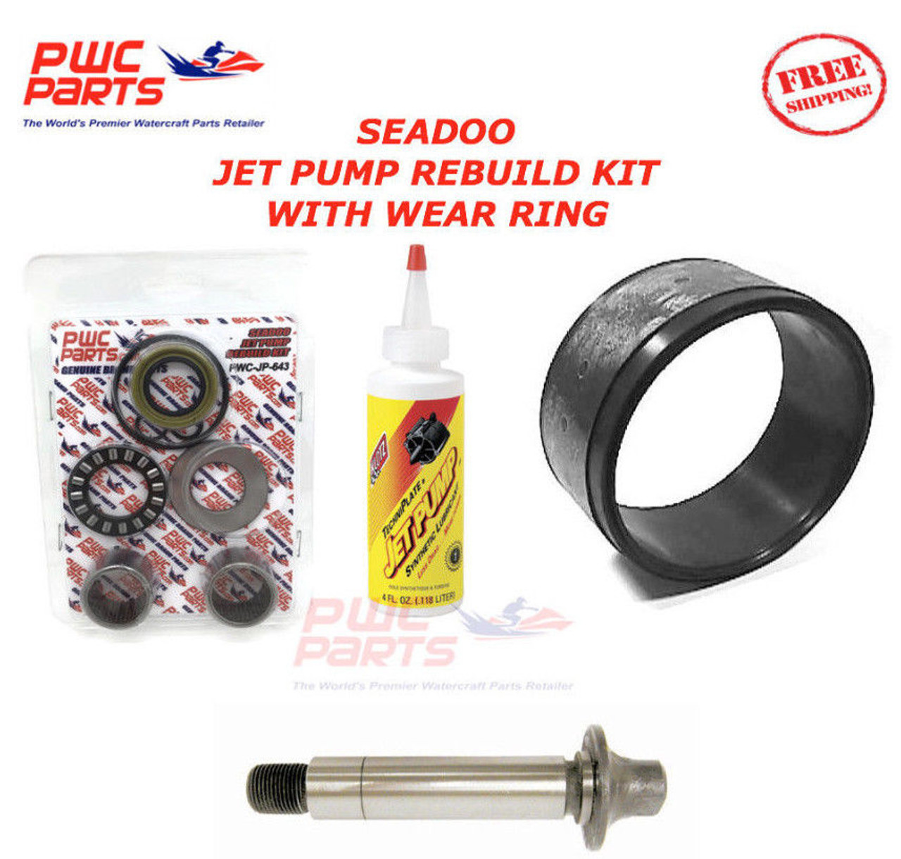 Seadoo Jet Pump Rebuild Kit Wear Ring Impeller Shaft Seal Oil 1998 Gtx Limited