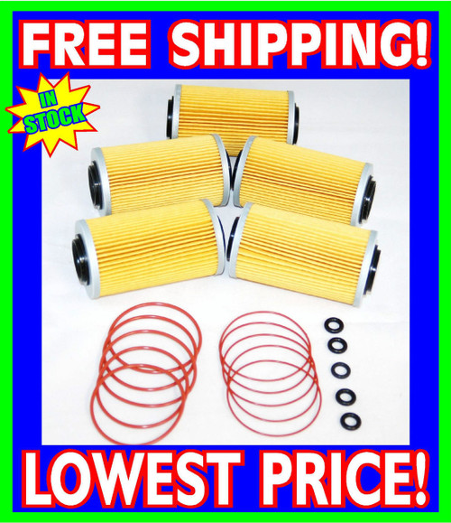 5 Sea Doo 4-TEC Oil Filters & O-Ring Kits RXP RXT GTX GTI RXP-X RXT-X 2002-2012 (006-560-(5)-Rings)
