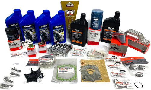 YAMAHA 2006-2013 F115 4-Stroke Outboard 100 Hour Maintenance Kit with Water Pump Rebuild Repair Kit, Thermostat, Fuel Filters, Spark Plugs, Trim Tab, Anodes, Lower Unit Gear Lube, Gaskets