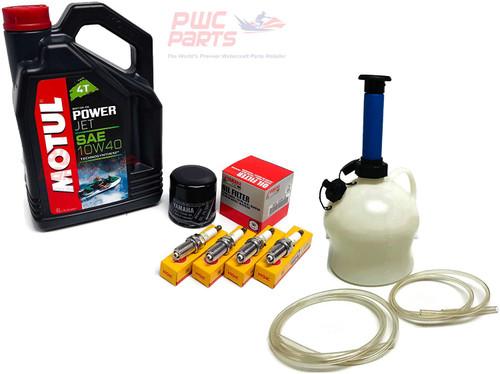 YAMAHA 2002-2007 FX140 / 2004-2008 FX-HO FX Cruiser MOTUL 4T Technosynthese 10W40 SAE Power Jet Oil Change Maintenance Kit w/NGK Spark Plug Set & PWCParts 4L Deluxe Oil Extractor Pump