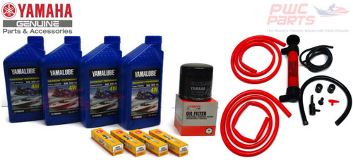 YAMAHA 19' BOAT Oil Change Kit w/Deluxe Oil Extractor Pump AR190 AR192 SX190 SX192 FSH190 FSH Sport Deluxe NGK Plugs