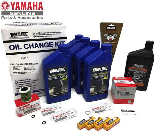 YAMAHA OEM 2013+ F200-B F200XB F200B 4-Cyl Inline 4 Oil Change 10W30 FC 4M Lower Unit Gear Lube Gaskets NGK Spark Plugs LFR6A-11 Primary Fuel Filter Maintenance Kit