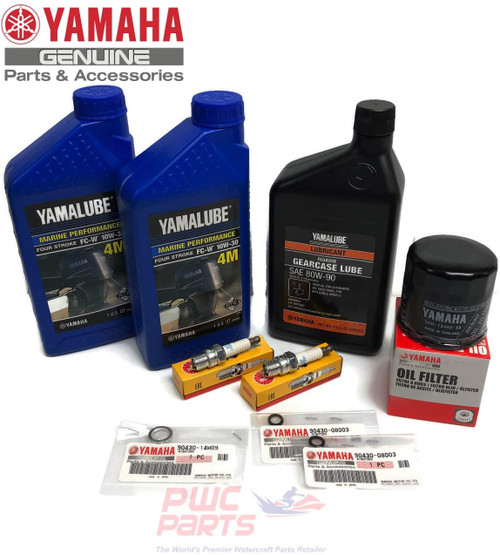 YAMAHA 2009+ F25A T25A Oil Change 10W30 FC 4M Lower Unit Gearcase Gear Lube Drain Fill Gaskets Spark Plugs NGK DPR6EA-9 Filter 5GH-13440-60-00 Maintenance Kit