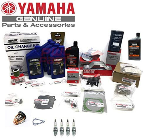 """YAMAHA 2014+""""New"""" F115 4-Cylinder Oil Change Kit 10W30 4M Primary Fuel Filter Lower Unit Gear Lube Water Pump Rebuild Power Trim Fluid Anode Spark Plug Thermostat Fuel/Water Separator Maintenance Kit"""