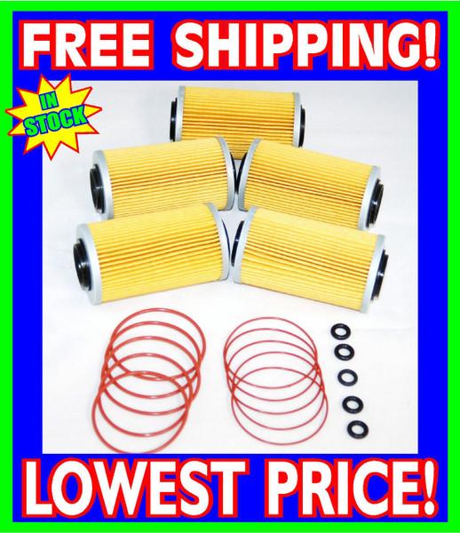 5 Sea Doo 4-TEC Oil Filters & O-Ring Kits RXP RXT GTX GTI RXP-X RXT-X 2002-2012 (006-560-(5)-Rings)