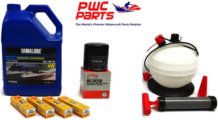YAMAHA SVHO 1.8L WaveRunner Oil Change Kit Gallon 4W w/Filter FX-SVHO FZR-SVHO FZS-SVHO GP1800 GP1800R 69J-13440-03-00 NGK Spark Plugs & 6L Oil Extractor Fluid Removal Pump Maintenance Kit