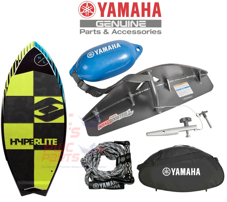 """amaha 24/ 25 ft. Surf Package F3F-U5909-V1-00 with HYPERLITE Broadcast 5'4"""" Wake Surf Boar   FITS: ALL 2021+ 25' YAMAHA Jet Boats All 2015+ 24' Yamaha Boats Only    Changing the realm of what's possible for wake surfing made convenient with the Yamaha Surf Package. Package includes: Yamaha WakeEnhancer, Hyperlite Broadcast 5'4"""" board, Yamaha wake surf rope, WakeEnhancer Carry Bag and flotation tether with fender.  WakeEnhancer """"Scoops"""" water towards the centreline, feeding the wake with a massive amount of clean water. The result is a wake that's more easily surfable, with a nice curl and deeper pocket that provides a larger riding area Custom designed specifically for the 25 ft. hull Fits flush to the bottom of the swim platform with no additional parts or spacers Symmetrical design fits port and starboard sides Locking pin uses boat's stern-eye to secure position Attaches quickly, no tools required Flotation tether included to prevent losing WakeEnhancer when dropped into water Soft foam pad on mounting surface HYPERLITE Broadcast Wakesurf Board Jump into the wakesurf lifestyle with the Broadcast. With an all-new shape that has been designed and tested to provide excellent performance for any ability level. Dual concave base feature and new rocker line provide a fast responsive ride Allows advanced riders to air out and generate speed for rotational tricks while beginner and intermediate riders can maintain momentum and stay in the sweet spot of the curl Machined EVA deck pad provides maximum traction Yamaha Wakesurf Rope 23' 5 tie-offs loops, 3ft apart Integrated rope floats 10"""" wide handle grip WakeEnhancer Carry Bag Straps keep the WakeEnhancer secured and there is even room for the tethered float Convenient carry handle and shoulder strap included Yamaha logo  Applications  YAMAHA AR250 SX250 252S 252SD 252SE  ALL 2015+ 24' Yamaha Boats  2015-2020 AR240/ SX240/ 242 LTD/S/ E/ 242X"""