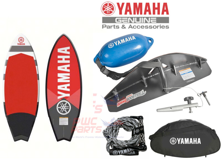 """Yamaha 24 ft. / 25 ft. Surf Package F3F-U5909-V1-00 with YAMAHA BROADCAST Hyperlite 5'4"""" Wake Surf Board   FITS: ALL 2021+ 25' YAMAHA Jet Boats All 2015+ 24' Yamaha Boats Only      Changing the realm of what's possible for wake surfing made convenient with the Yamaha Surf Package. Package includes: Yamaha WakeEnhancer, Hyperlite Broadcast 5'4"""" board, Yamaha wake surf rope, WakeEnhancer Carry Bag and flotation tether with fender.  WakeEnhancer """"Scoops"""" water towards the centreline, feeding the wake with a massive amount of clean water. The result is a wake that's more easily surfable, with a nice curl and deeper pocket that provides a larger riding area Custom designed specifically for the 25 ft. hull Fits flush to the bottom of the swim platform with no additional parts or spacers Symmetrical design fits port and starboard sides Locking pin uses boat's stern-eye to secure position Attaches quickly, no tools required Flotation tether included to prevent losing WakeEnhancer when dropped into water Soft foam pad on mounting surface Hyperlite YAMAHA Broadcast 5'4"""" Wakesurf Board  Get your ride ready for primetime with the Hyperlite Broadcast Wakesurfer. This board has a swallow tail shape that makes it easy to control with smooth edge-to-edge transitions, and once you're there the Rolled Edge Profile will give you powerful bite into the wake. Inside the Monocoque Construction uses Layered glass to give you long lasting board with plenty of response, and underneath the three fin setup gives you good control and helps generate speed.  Yamaha Wakesurf Rope 23' 5 tie-offs loops, 3ft apart Integrated rope floats 10"""" wide handle grip WakeEnhancer Carry Bag Straps keep the WakeEnhancer secured and there is even room for the tethered float Convenient carry handle and shoulder strap included Yamaha logo  Applications  YAMAHA AR250 SX250 252S 252SD 252SE   ALL 2015+ 24' Yamaha Boats  2015-2020 AR240/ SX240/ 242 LTD/S/ E/ 242X"""