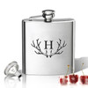 Stainless Steel Hip Flask (8 oz) Personalized to your desire.   Antler Initial.