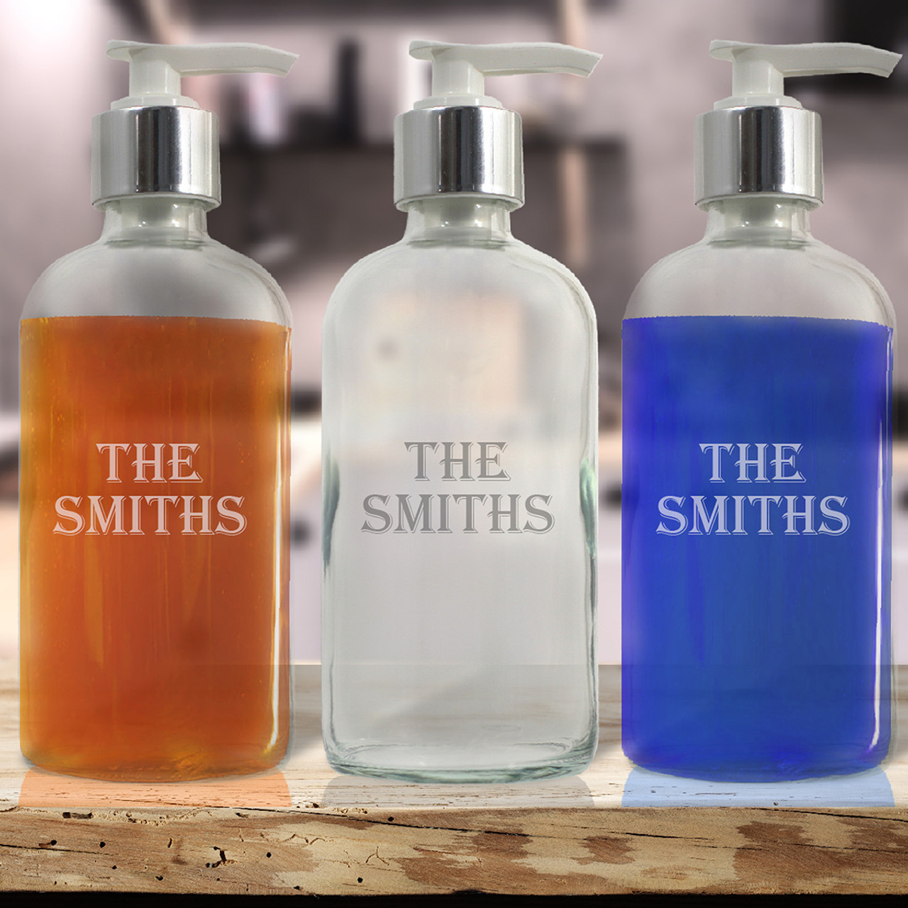 23439277666a Personalized Glass Soap Dispenser - 8oz Boston Round (Standard Carving  Options )
