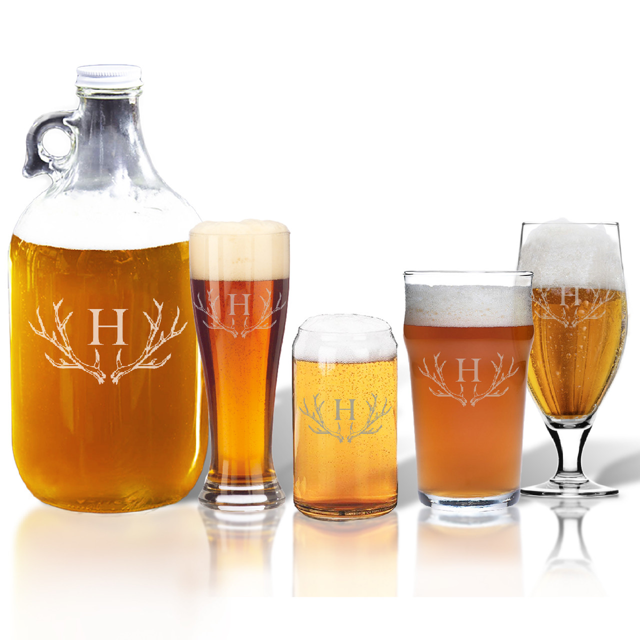 64oz Growler And Variety Pint Glass Set Of 4 Glasses Personalized Antler Motif