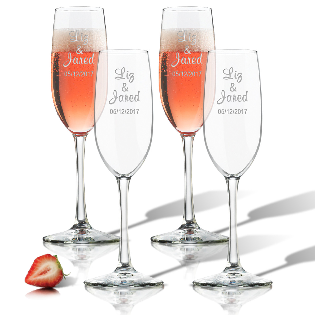 Personalized Champagne Flute Set Of 4 Glass Personalized