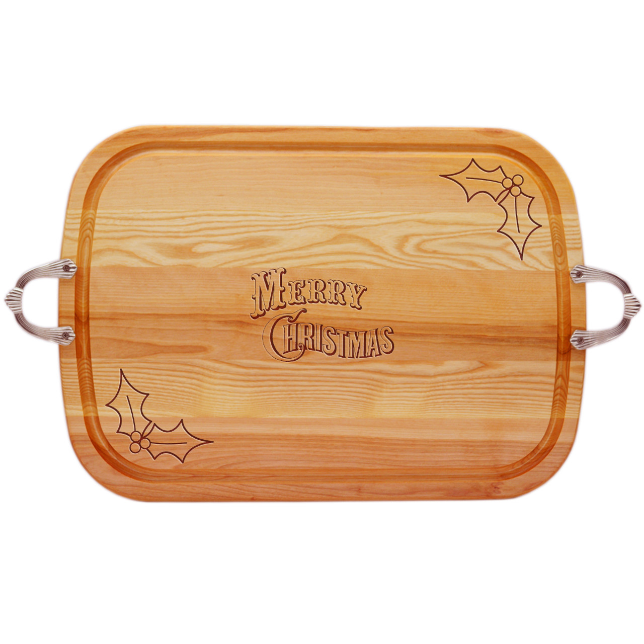 Christmas With Holly.Everyday Collection Large Serving Tray With Nouveau Handles Merry Christmas With Holly