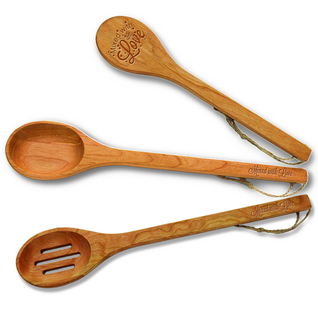 Cherry Wooden Spoon Set Mixed With Love