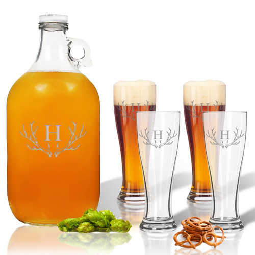 5 Piece Set: Growler  64 oz.  &  Pilsner Glass 16oz (Set of 4) Personalized Antler Theme
