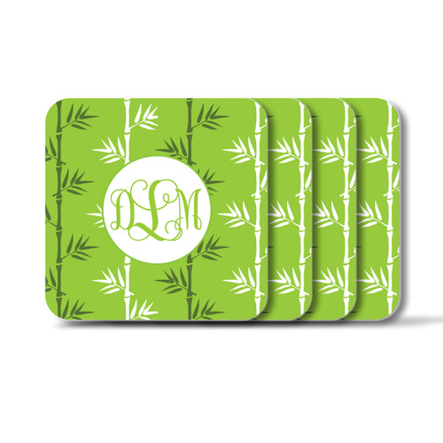 Personalized Square Coasters, Set of 4 - Green Tea Vine Monogram