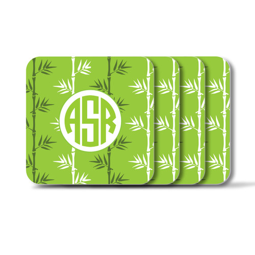 Personalized Square Coasters, Set of 4 - Green Tea Circle Monogram