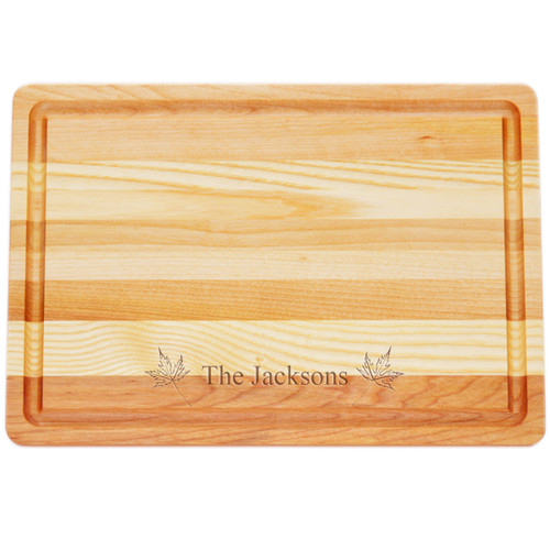 "Medium Master Cutting Boards 14.5"" X 10"" - Personalized Maple Leafs"