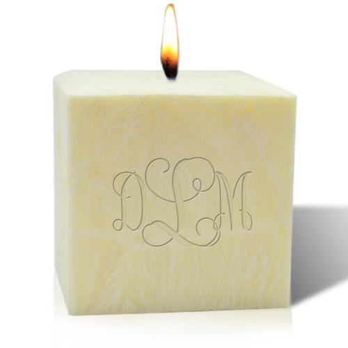 """4"""" Citrus Escape Palm Wax Candle - Monogram"""