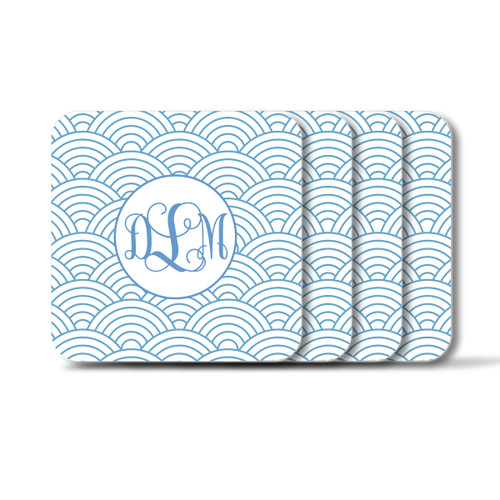 Personalized Square Coasters, Set of 4 - Wild Blue Lupin Vine Monogram