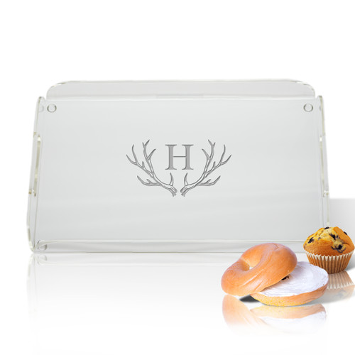 Personalized Acrylic Serving Tray - Antler Initial Motif