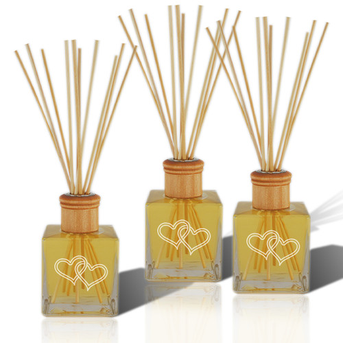 Double Heart Reed Diffuser with Essential Oil (Set of 3)